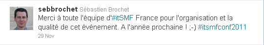 Twitter Merci itSMF France